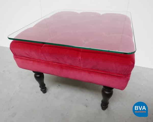 Sidetable Wit Met Glas.Nobilis Side Table With Glass Plate Velor 52x52x39cm