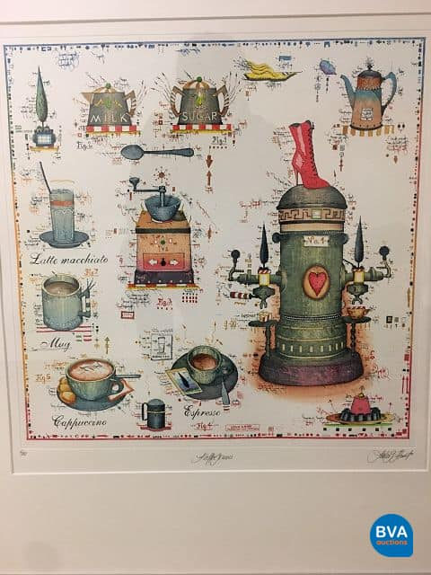 """Original-Farbradierung """"Kaffegenuß"""" von Leslie G. Hunt."""